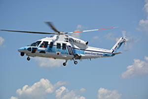 Картинки Вертолеты S-76D Авиация