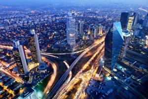 Фотографии Турция Здания Дороги Стамбул Мегаполис Ночь Сверху Города