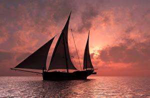 Обои Корабли Парусные Море Рассветы и закаты