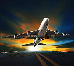 Фотографии Самолеты Пассажирские Самолеты Асфальт Ночь Авиация