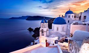Обои Греция Побережье Море Дома Oia, Santorini Природа Города фото