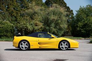 Обои Ferrari Желтый Кабриолет Сбоку 1995-99 F355 Spider Worldwide Pininfarina Авто