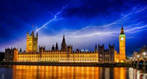 Фотографии Великобритания Англия Дома Река Небо Лондоне Биг-Бен Ночь Молнии Города