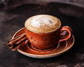 Обои Напитки Кофе Корица Капучино Пена Чашка Еда фото