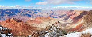 Фотографии Америка Парки Гора Пейзаж Гранд-Каньон парк Облако Снеге
