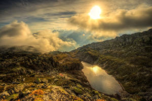 Фото Швейцария Горы Озеро Небо Альпы Облака Солнца Remersee Goms Природа