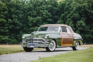 Фотографии Крайслер Ретро Металлик Зеленые 1949 Town Автомобили