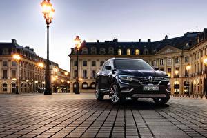 Фотографии Рено Черный Улице Уличные фонари 2016 Koleos Initiale Paris машины