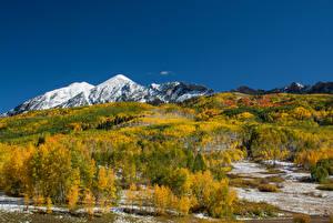 Обои Осень Горы Пейзаж Деревья Природа фото