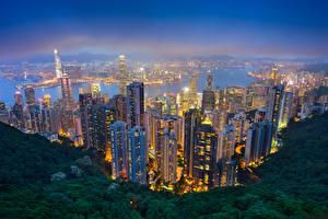 Обои Гонконг Китай Небоскребы Речка Ночью город