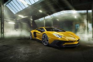 Фотографии Ламборгини Желтые Металлик 2016 Novitec Torado Aventador LP 750-4 Superveloce
