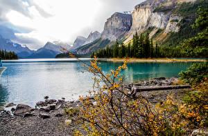 Обои Канада Горы Озеро Осень Пейзаж Maligne Lake Spirit Island Alberta Природа фото