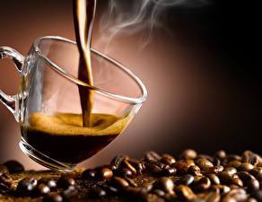 Картинка Кофе Зерна Чашка Пар Пища