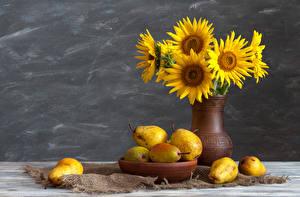 Обои Натюрморт Подсолнухи Груши Ваза Еда Цветы фото