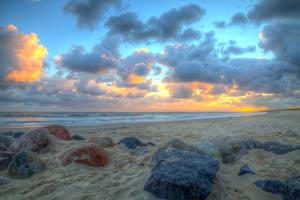 Фотографии Дания Побережье Камни Небо HDR Облака Пляж Jylland Природа