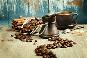 Картинка Напиток Кофе Корица Зерна Чашка Турка Еда