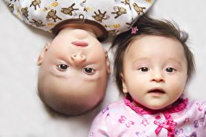 Обои Младенцы Двое Взгляд Лицо Дети фото