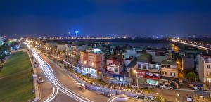 Обои Вьетнам Дома Дороги Ночь Уличные фонари Hanoi Города фото