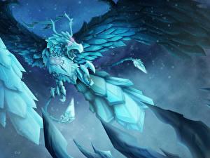 Обои LOL Волшебные животные Крылья Anivia Фэнтези