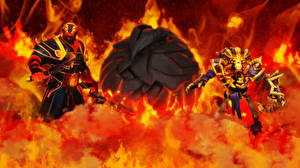 Обои DOTA 2 Clinkz Лучники Монстры Нежить Ember Spirit Воители Огонь Phoenix Игры Фэнтези фото