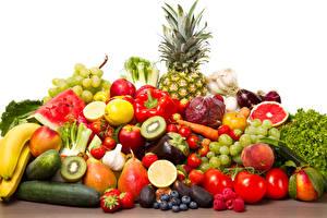 Обои Фрукты Овощи Помидоры Ананасы Виноград Ягоды Перец Еда фото