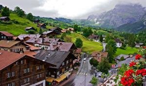 Картинка Швейцария Здания Дороги Горы Grindelwald Города