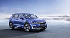 Картинки Volkswagen Синий GTE 2015 Tiguan Concept 2015 Машины