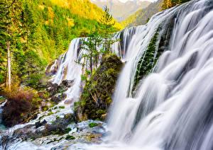 Обои Китай Водопады Осень Pearl Shoal Waterfall Sichuan Province Природа фото