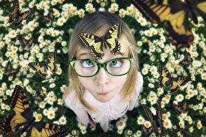 Картинка Бабочки Девочки Очки Ребёнок