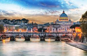 Фотографии Рим Италия Реки Мосты Вечер Города