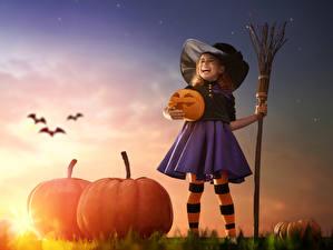 Фотография Хэллоуин Тыква Девочка Шляпа Ночные Юбки ребёнок