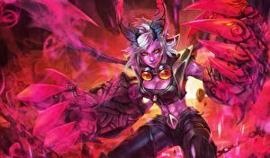 Картинка Воины Демоны LOL Piltover Enforcer Demon Vi Фэнтези Девушки