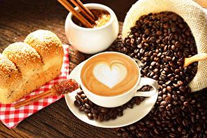 Фотография Кофе Капучино Сердце Зерно Чашке Блюдца Продукты питания