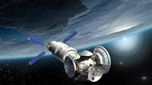 Обои Орбитальные станции Поверхность планеты Космос 3D_Графика фото