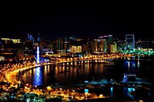 Обои Побережье Дома Ночь Baku Azerbaijan Города фото