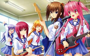 Фото Ангельские ритмы! Микрофоны С гитарой Школьницы Униформа Yusa, Yui Девушки