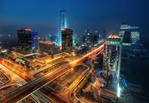 Фотография Здания Дороги Китай Ночью beijing Города