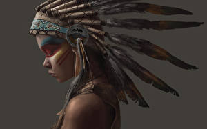 Картинки Перья Индейский головной убор Индейцы Девушки