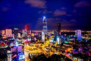 Обои Дома Вьетнам Ночь Saigon, Ho Chi Minh City Города фото