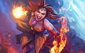 Обои DOTA 2 Lina Магия Воители Огонь Рыжая Игры Фэнтези Девушки фото
