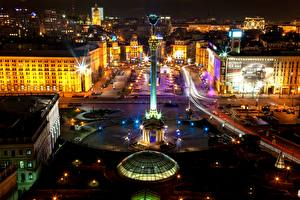 Обои Дома Украина Киев Сверху Ночь Maidan Nezalezhnosti Города фото