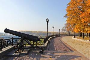 Обои Пушки Парки Осень Украина Chernihiv Chernigov shaft Города фото