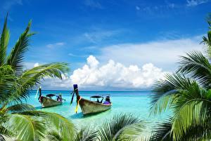 Фото Лодки Небо Тропики Облака