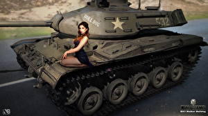 Фотография World of Tanks Танки Nikita Bolyakov M 41 Walker Bulldog компьютерная игра Девушки