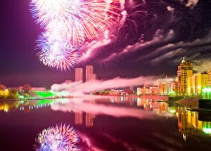 Фото Салют Здания Казахстан Речка Ночные Astana город