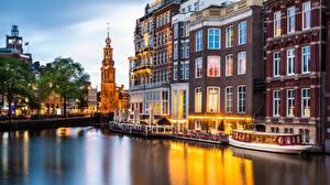 Картинка Нидерланды Амстердам Дома Munt Tower