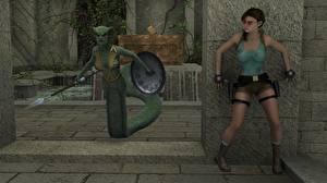 Картинки Tomb Raider Tomb Raider Anniversary Змеи Сверхъестественные существа Щиты С копьем Лара Крофт Девушки 3D_Графика