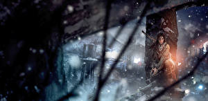 Обои Tomb Raider Rise of the Tomb Raider Лучники Пистолеты Лара Крофт Девушки