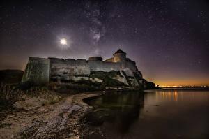 Фото Побережье Крепость Украина Небо Звезды В ночи Bilhorod-Dnistrovskyi