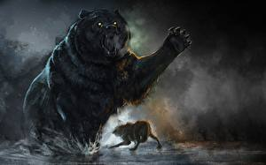 Фотографии Бурые Медведи Волки Рисованные Драка